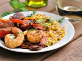 Cajun Pepper Shrimp with Creamed Corn Orzo