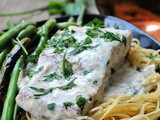 Pan Seared Salmon with Lemon Garlic Cream Sauce + Weekly Menu