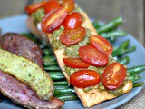 Pesto Salmon and Italian Veggies in Foil + Weekly Menu