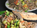 Sesame Soba Noodles with Roasted Salmon + Weekly Menu