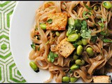 Spicy Sesame-Soy Rice Noodles with Tofu and Edamame