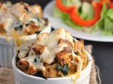 Spinach, Cheese, and Bacon Bread Puddings + Weekly Menu
