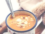 Carrot Ginger Soup with Almond Flakes