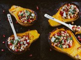Oven Roasted Butternut Squash with Chickpeas, Feta and Pomegranate