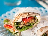 Whole-wheat Wraps with Grilled Veggies, Feta & Hummus