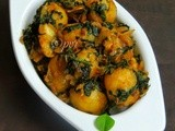 Babypotatoes Fenugreek Leaves Curry/ Aloo Methi Sabzi