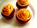 Chocolate Pumpkin Cupcake With Orange Cream Cheese Frosting