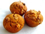 Eggless & Sugarless Walnut Banana Wholewheat Muffins
