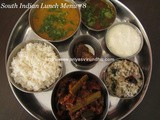 South Indian Lunch Menu – 8/Lunch Menu Ideas