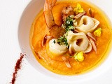 Tortellini Formaggi on Pumpkin Puree, Buttered Prawns Dressed with Gremolata & Roasted Slivered Almonds