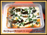 Doi Begun (Brinjal slices dipped in seasoned yogurt) ~ a perfect Summer delight