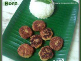Narkel Postor Bora or Poppy Seed Fritters with coconut