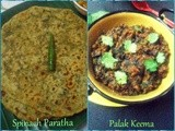 Palak Paratha(Spinach paratha) and Keema Palak(minced Chicken & spinach curry) in Microwave