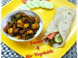 Stir Fried Paneer and Mix-vegetable Wrap