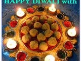Wishing Happy Diwali/Deepavali with Besan Suji Laddoo(Sweet Gram flour n Semolina Balls), made in Microwave