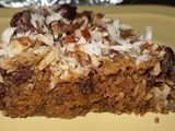 Microwave Dark Chocolate, Coconut and Walnut Bars