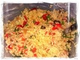 Bulgur with Roasted Peppers, Olives, Coriander and Lemon