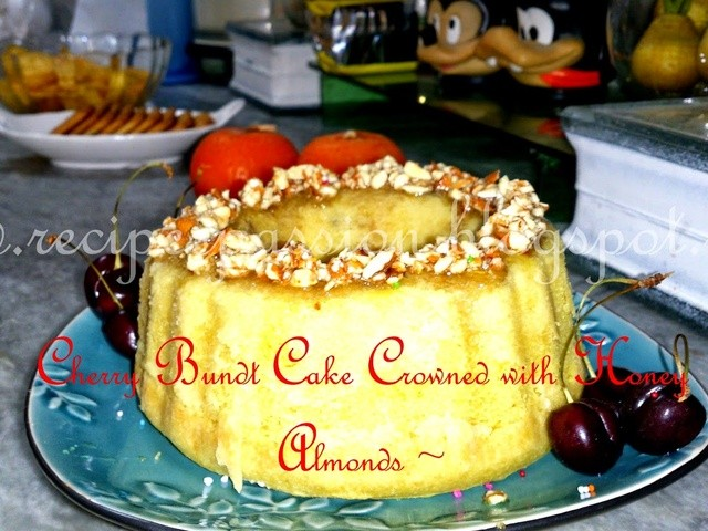 cherry-bundt-cake-crowned-with-honey-almonds-bundt-cake-fruit-cake ...