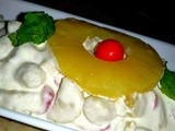 Cream Fruit salad Recipe : Quick and Easy Dessert , Recipes with fruit : Pineapple, Cherry & Banana