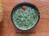 Cheera payaru curry / Spinach and green gram in coconut gravy