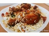 Fried chicken biriyani (Thalassery biriyani)