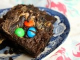 Fudgy m&Ms Brownies with a Peanut Butter Swirl