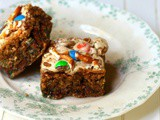 Monster Cookie Bars Stuffed with Reeses pb Cups