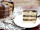 Vanilla Triple Layer Cake with Whipped Dark Chocolate Frosting