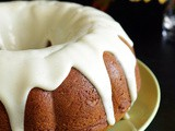 Eggless Pumpkin Bundt Cake with Yogurt Glaze (Vegan)