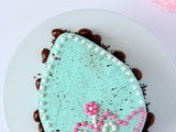Speckled Chocolate Easter Egg Cake with Custard filling