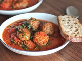 Meatball with thick Tomato Soup
