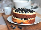 Vanilla White Cake with Blueberry Cream Cheese Frosting