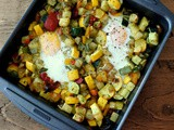 Roast Veg and Egg Traybake Hash