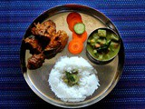 Mangalorean Plated Meal Series - Boshi# 11 - Chicken Ghee Roast, Mixed Vegetable Saagu & Rice