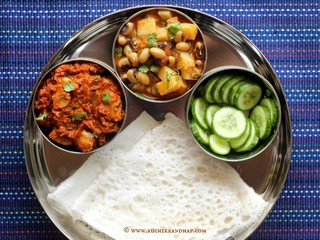 Mangalorean Plated Meal Series - Boshi# 18 - Mushroom Curry, Gule Sukhe, Salad & Neer Dosa