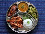 Mangalorean Plated Meal Series - Boshi# 34 - Crab Sukka Masala, Fried Fish, Daaliso Saar, Gosalem Thel Piyao & Rice