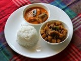 Mangalorean Plated Meal Series - Boshi # 5 - Special Ison/Surmai Curry, Soorn (Yam) Sukka & White Rice