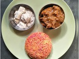 Everyday Lunch Platter : Beetroot rice, Spicy chicken curry and Shahi paneer