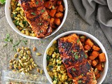 30 Minute Honey Chili Salmon And Sweet Potato Bowls