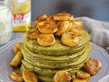 Banana Matcha Oatmeal Pancakes with Cinnamon Cream Bananas