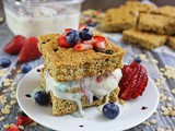 Berry Rice Krispies Bars with No Churn Cookie Berry Ice Cream