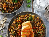 Easy Turmeric Quinoa and Veggie Saute with Gorton's Beer Battered Crispy Fillets