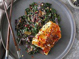 Miso Glazed Cod with Sauteed Spinach and Onions