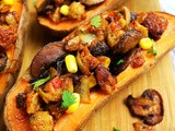 Spicy Veggie Burger Stuffed Sweet Potatoes