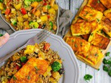 Turmeric Salmon • Warm Veggie Quinoa Salad • Blueberry Oatmeal Cookies