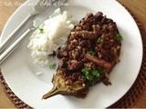 Stuffed Aubergine with Lamb and Pine Nuts