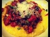 Roasted Cherry Tomato and Sausage over Soft Polenta