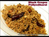 Black Grapes Puliyodharai / Black Grapes in Tangy Spicy sauce Rice