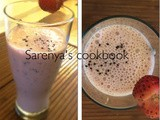 Strawberry milk shake with sabja seeds/basil seeds