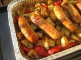 Roasted Sausages, Peppers, Potatoes and Onions